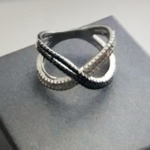 DIAMONIQUE Pave X Design Ring Sz 8